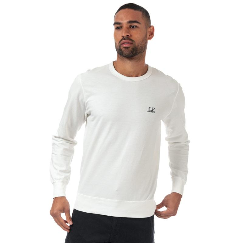 Mikina C.P. Company Mens Light Fleece Crew Neck Sweatshirt White