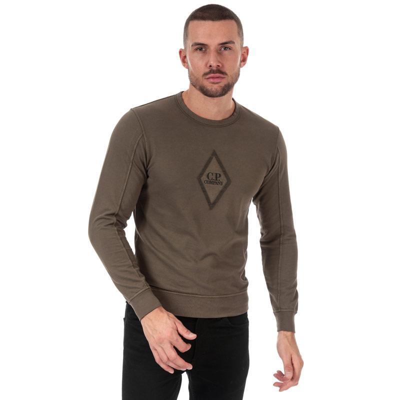 Mikina C.P. Company Mens Diamond Crew Neck Sweatshirt Green