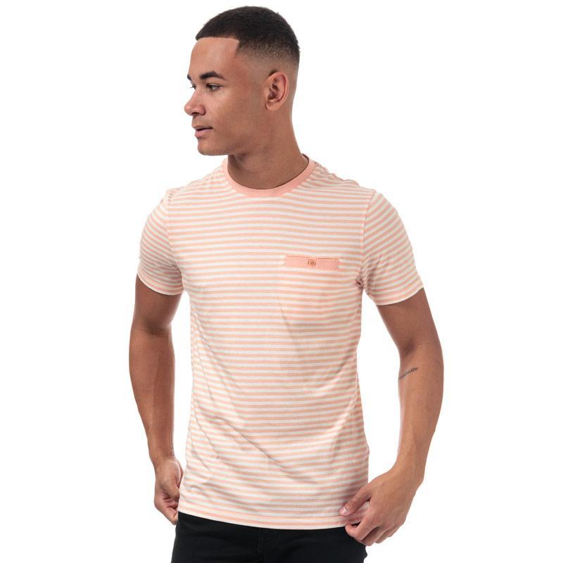 Tričko Ted Baker Mens Russ Striped Cotton T-Shirt Orange