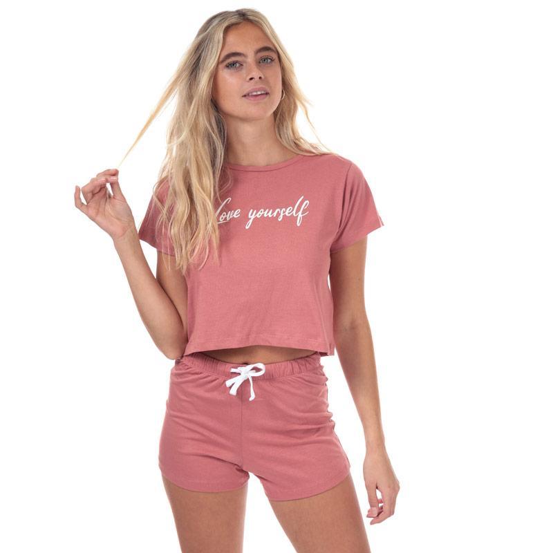 Pyžama Brave Soul Womens Love Yourself Short Pyjama Set Pink