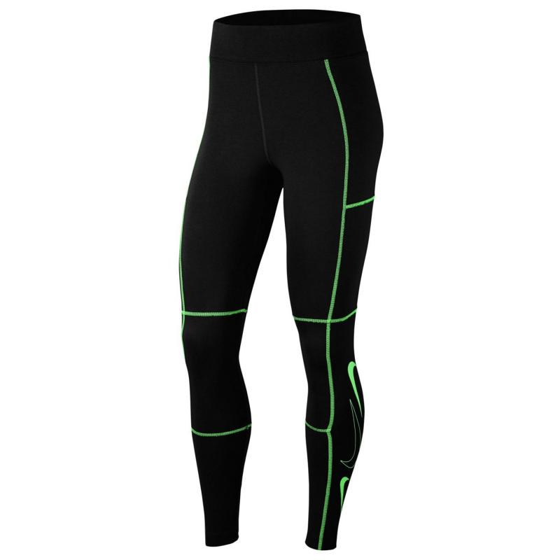 Nike Sportswear Swoosh High-Waisted Leggings Ladies BLACK/POISON GREEN/POISON GREE