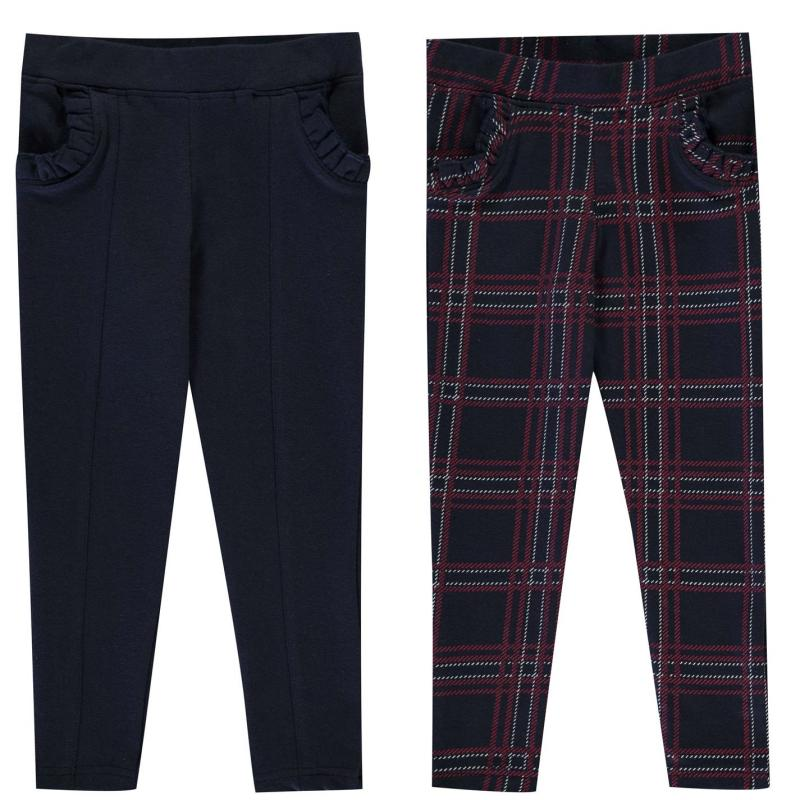 SoulCal 2 Pack Trousers Infant Girls Nvy/Check