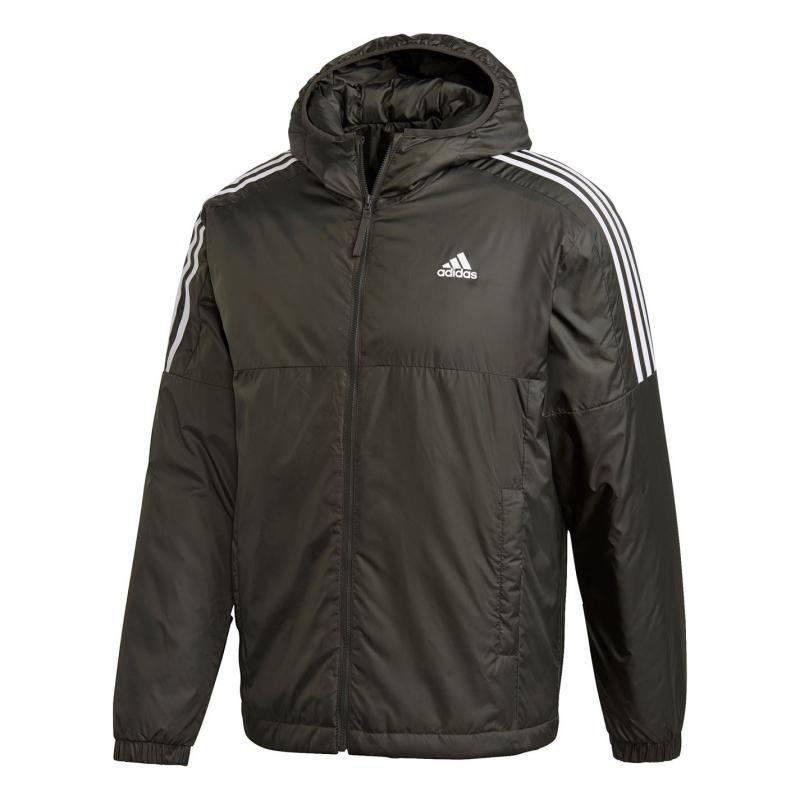 Adidas 3 Stripe Essential Hooded Jacket Mens Legend Earth