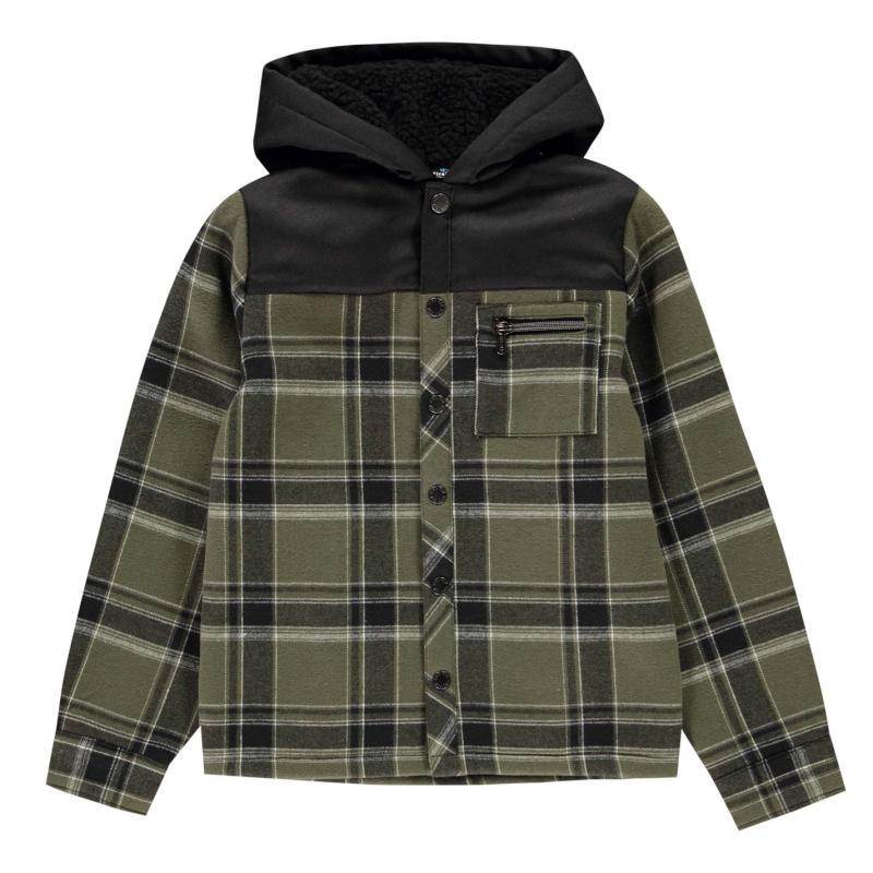 Košile Firetrap Flannel Shirt Junior Boys Olive/Blk Lined
