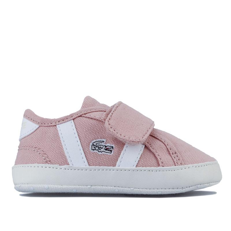 Lacoste Baby Girls Sideline Crib Trainers White Green
