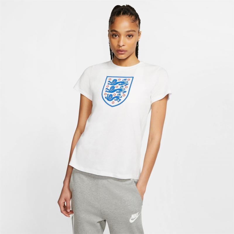 Nike England Crest T Shirt Ladies White