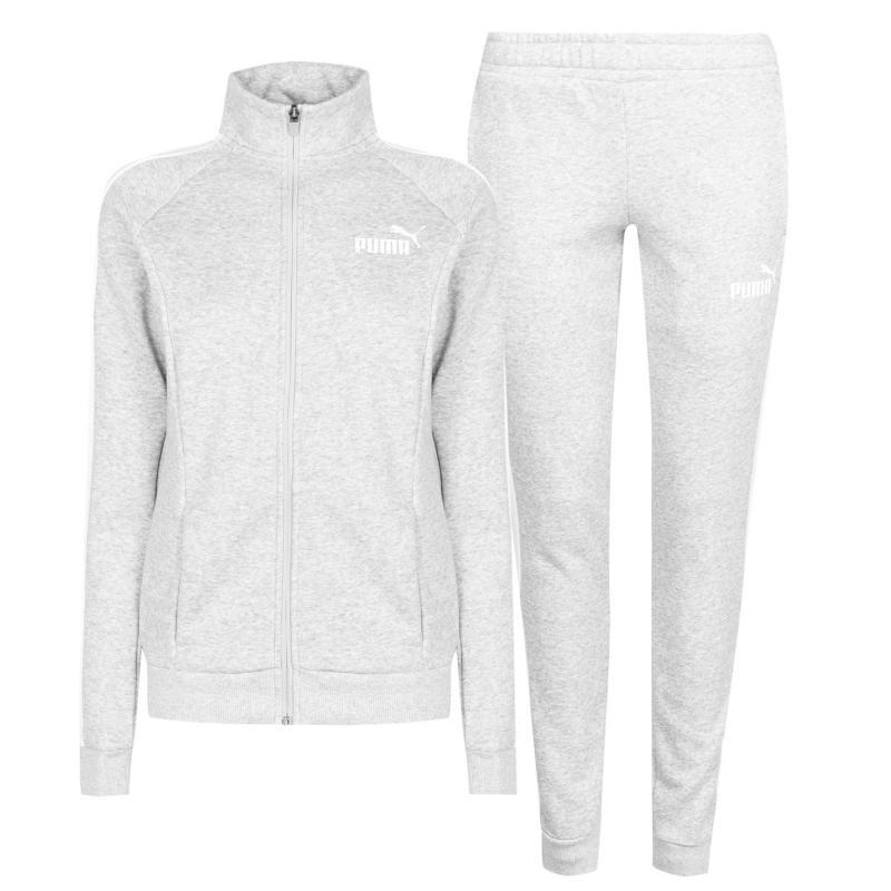 Puma Fleece Sweat Suit Womens Grey/White
