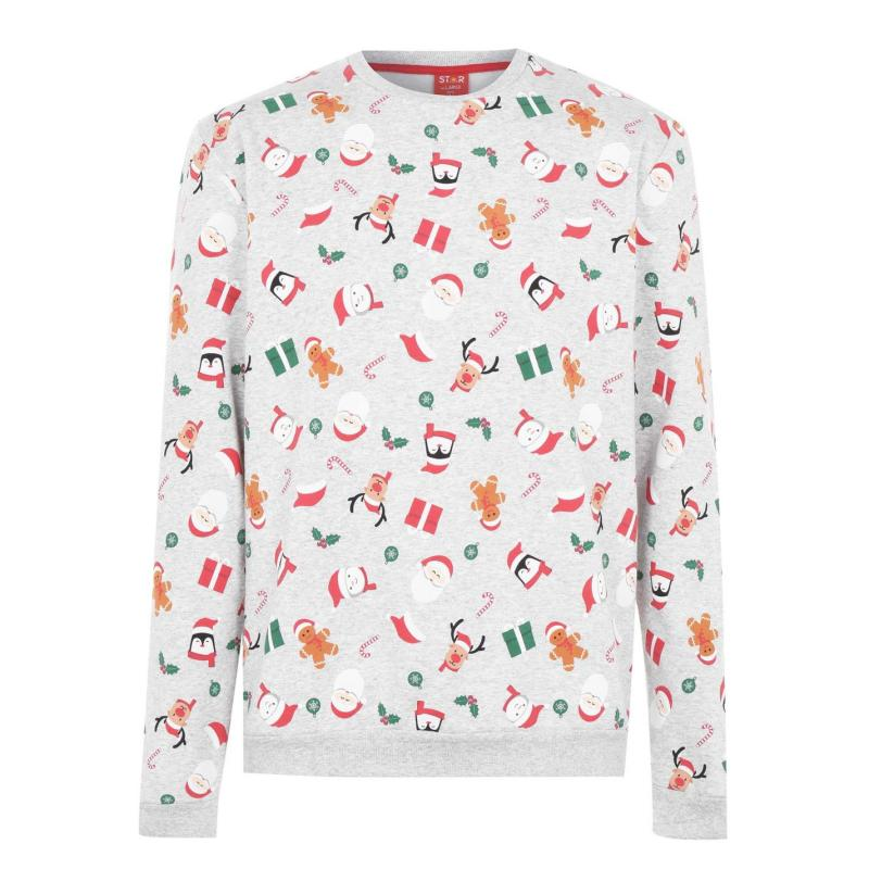 Star Christmas Crew Sweatshirt Mens Xmas Family AOP
