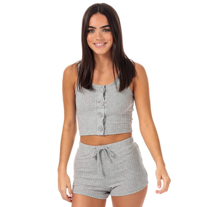 Pyžama Brave Soul Womens Vest & Short Lounge Set Grey Marl