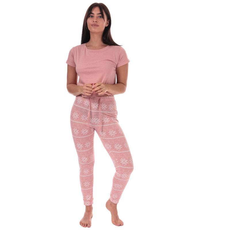 Pyžama Brave Soul Womens Fairisle Pyjama Set Pink