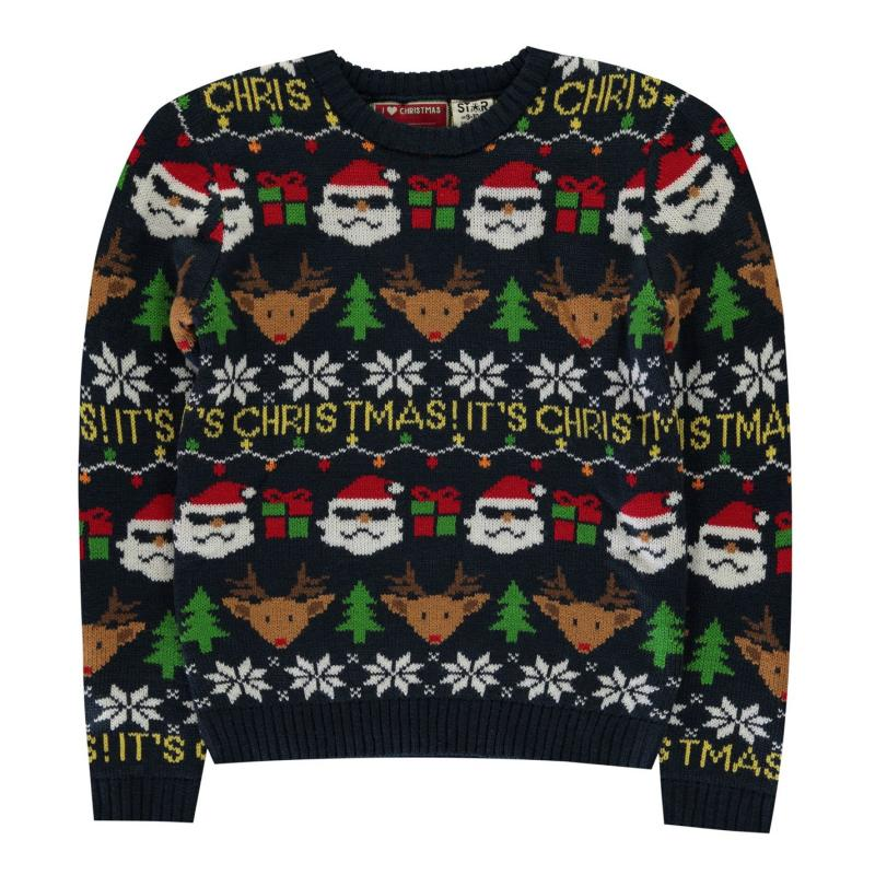 Star Christmas Knit Jumper Junior Boys Navy Fairisle