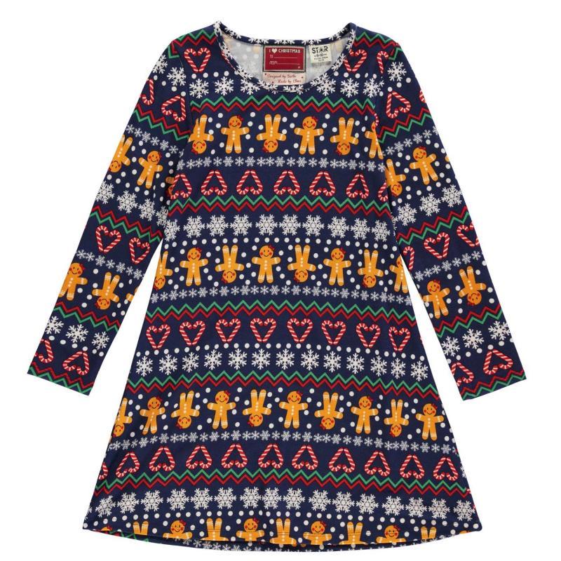 Šaty Star Christmas Jersey Dress Junior Girls Candy Cane