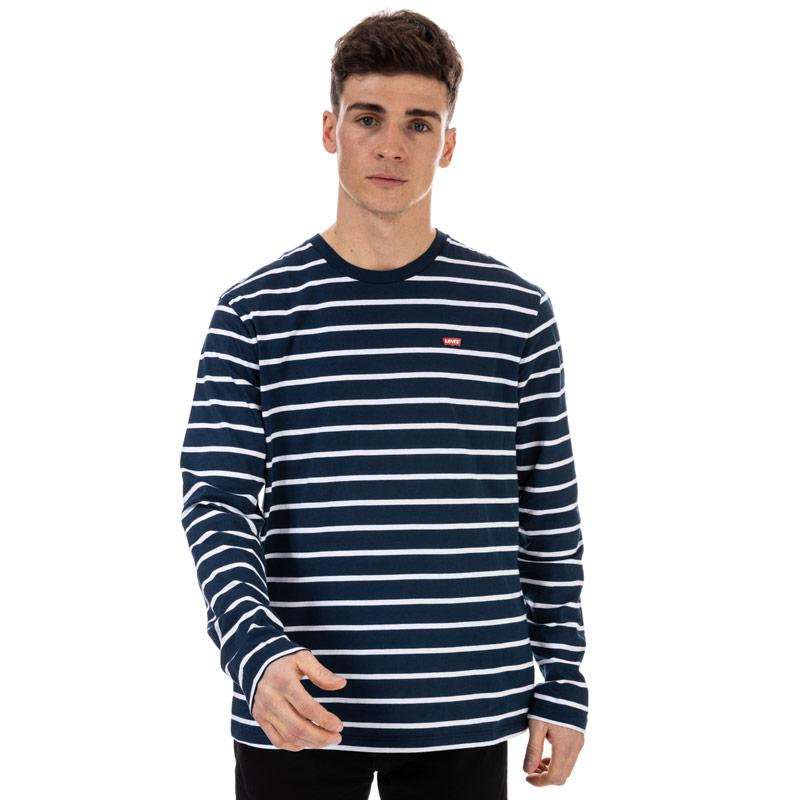 Tričko Levis Mens Classic Housemark Striped T-Shirt White Navy