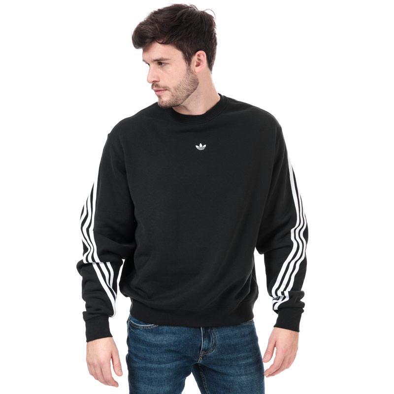 Mikina Adidas Originals Mens 3-Stripes Wrap Crew Sweatshirt Black-White