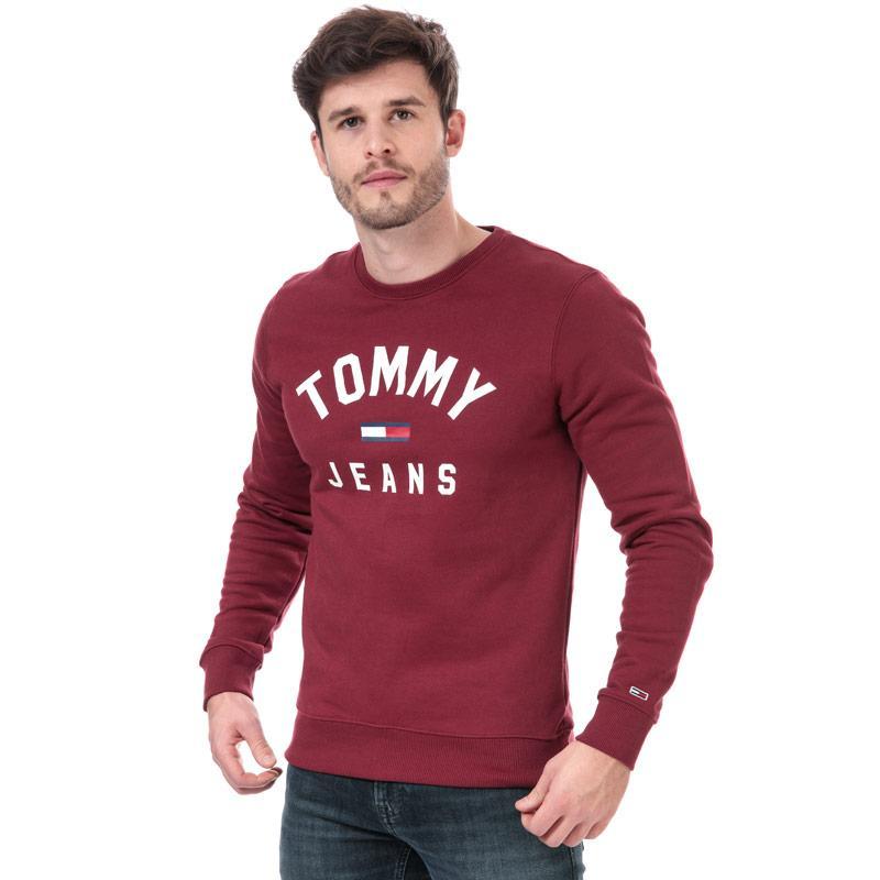 Mikina Tommy Hilfiger Mens Essential Flag Sweatshirt Burgundy
