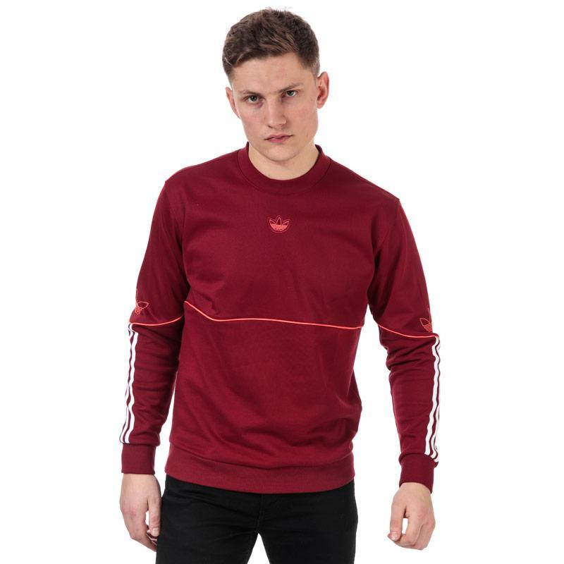Mikina Adidas Originals Mens Outline Crew Sweatshirt Burgundy