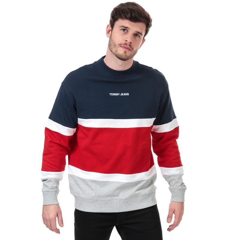 Mikina Tommy Hilfiger Mens Retro Colourblock Sweatshirt navy red white