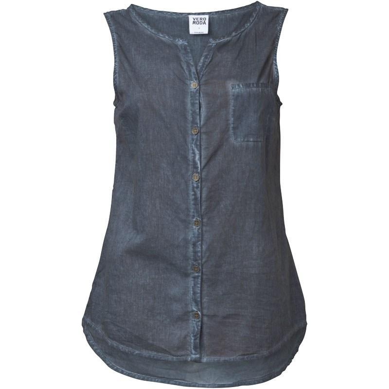 Vero Moda Womens Washed Shirt Asphalt