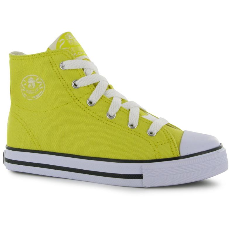 Dunlop Kids Canvas High Top Trainers Yellow