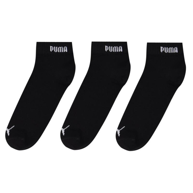 Ponožky Puma 3 Pack Quarter Socks Mens Black