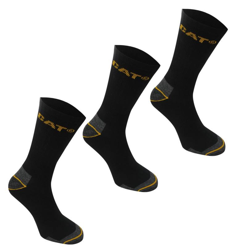 Ponožky Caterpillar Work Socks 3 Pack Mens Black