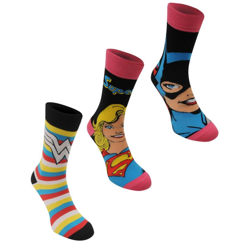 Ponožky DC Comics 3 Pack Crew Sock Ladies Multi