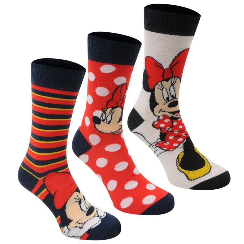 Ponožky Disney 3 Pack Crew Socks Ladies Minnie