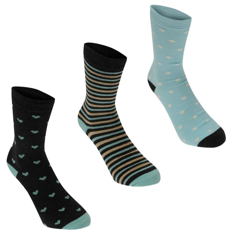 Ponožky Kangol Formal Socks 3 Pack Ladies Blue Hearts
