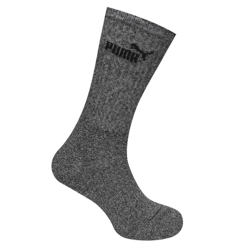 Ponožky Puma 3 Pack Crew Socks Mens Anthracite/Grey