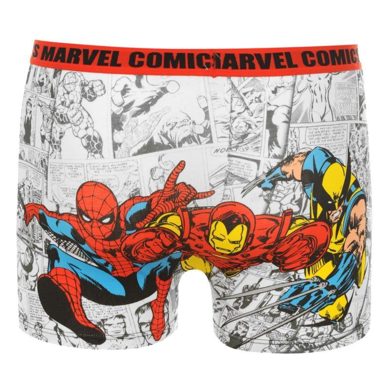 Spodní prádlo Marvel Single Boxer Shorts Junior White AOP