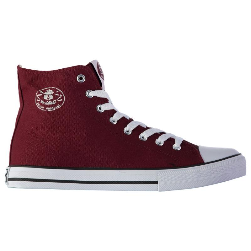 Boty Dunlop Mens Canvas High Top Trainers Burgundy