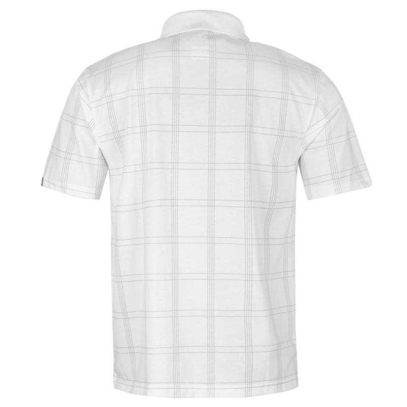 Dunlop Check Golf Polo Shirt Mens White