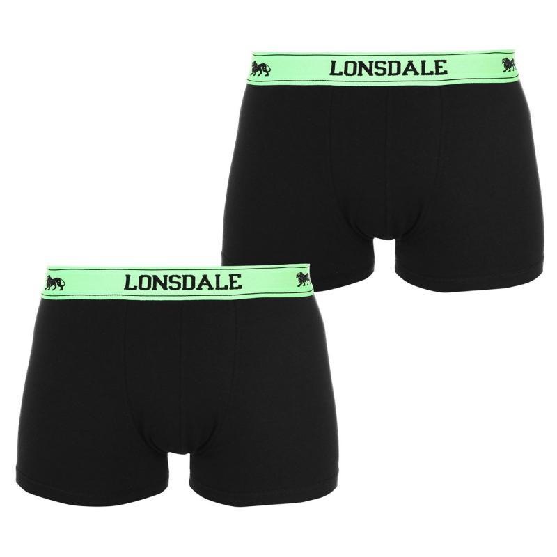 Spodní prádlo Lonsdale 2 Pack Trunks Mens Black/Fl Green