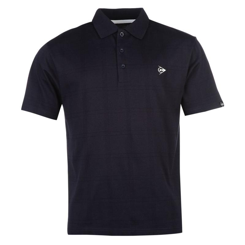 Dunlop Check Golf Polo Shirt Mens Navy