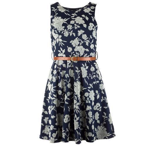 Šaty Clubl Womens Floral Print Skater Dress Navy