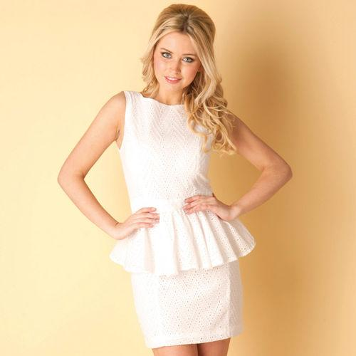 Šaty Rare Womens Broderie Anglais Peplum Dress White