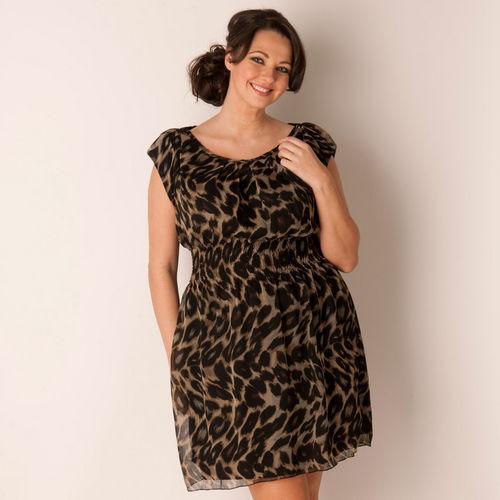 Šaty Ax Paris Curve Womens Elasticated Waist Animal Chiffon Dress Brown