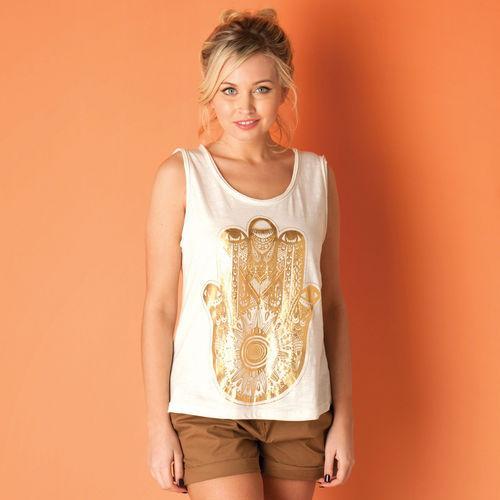 Brave Soul Womens Foil Print Vest Top Cream