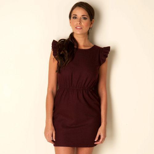 Šaty Glamorous Womens Frill Sleeve Dress Burgundy
