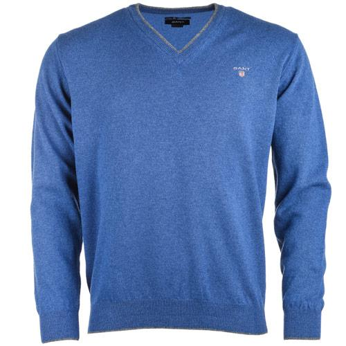 Gant Mens V-Neck Lambswool Sweater Indigo