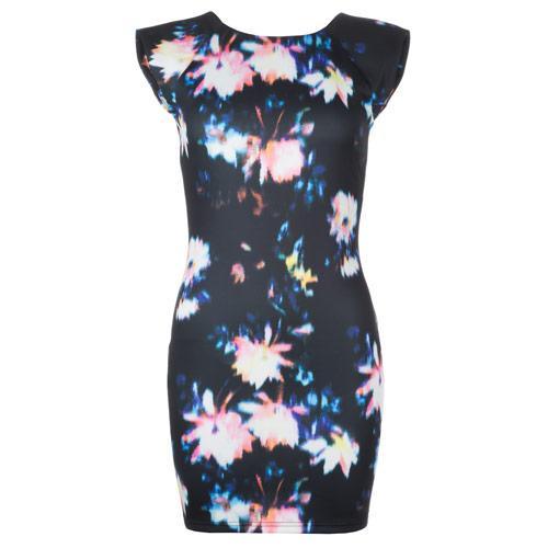 Šaty Ax Paris Womens Shoulder Pad Funky Print Bodycon Dress Black