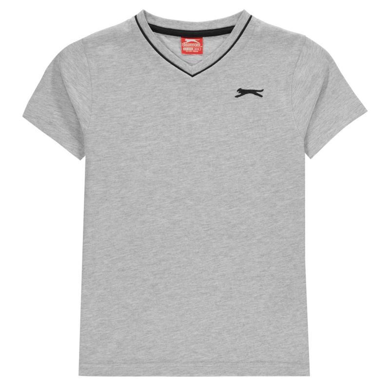 Tričko Slazenger V Neck T Shirt Junior Boys Grey Marl