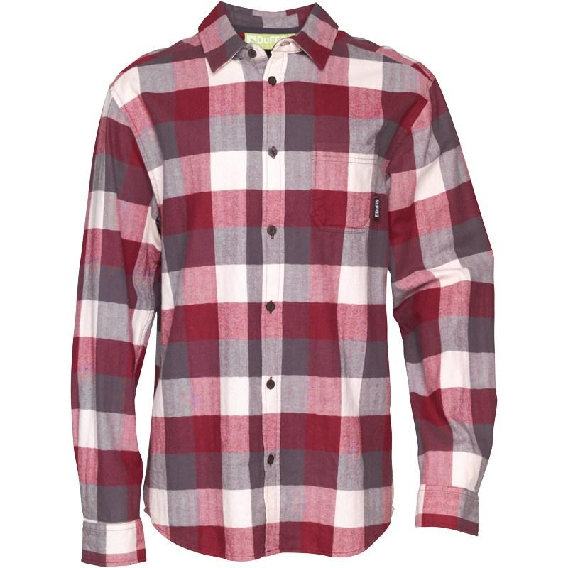 Duffs Mens Checked Shirt Charcoal/Burgundy