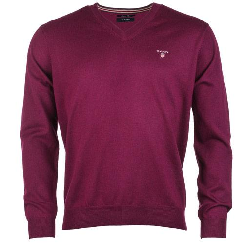 Gant Mens V-Neck Cotton Wool Sweater Purple