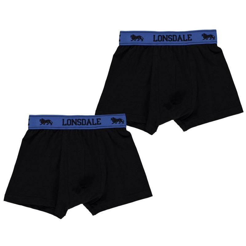 Spodní prádlo Lonsdale 2 Pack Trunk Junior Boys Black/Brt Blue