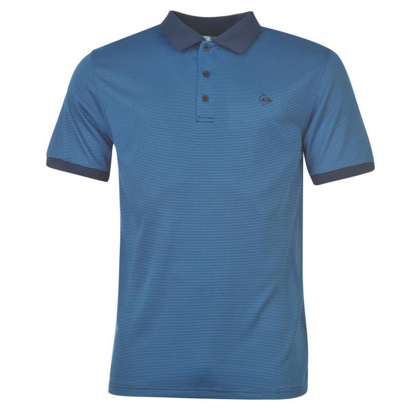 Dunlop Fine Stripe Polo Shirt Mens Navy