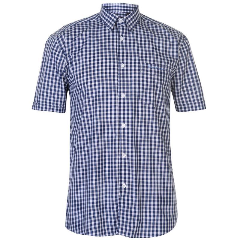 Pierre Cardin Short Sleeve Shirt Mens Nvy/Wht Gingham