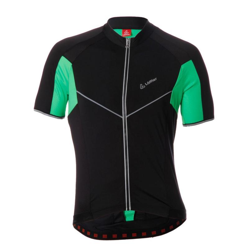 Tričko Löffler Tri Full Zip Top Mens Black/Green/Neo
