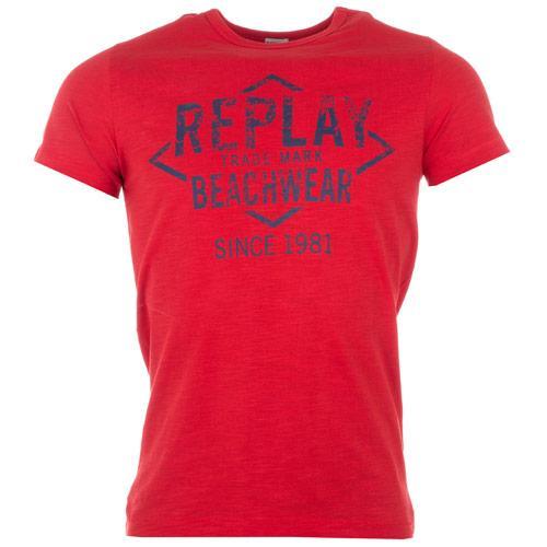 Tričko Replay Mens Logo T-Shirt Red