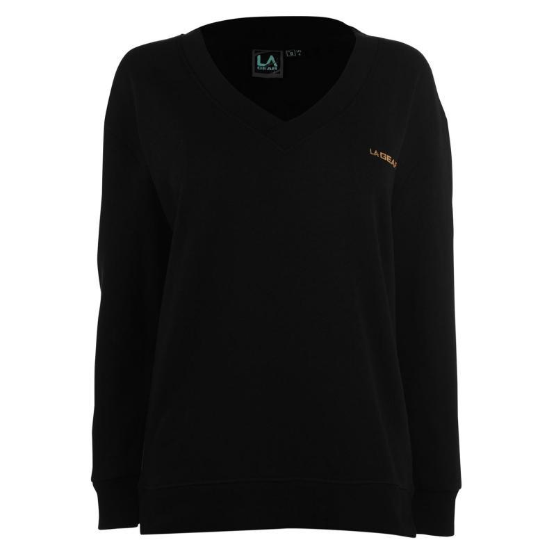 Mikina LA Gear V Neck Sweatshirt Ladies Black